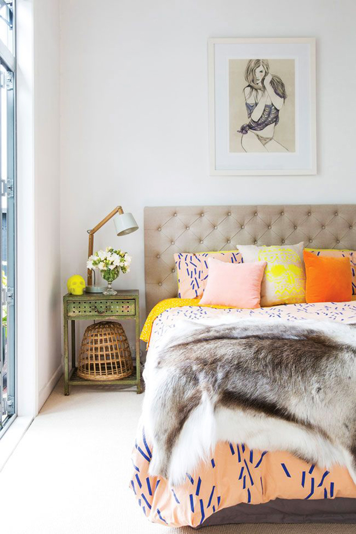 Funky and Eclectic in Fur Bedroom Design Idea