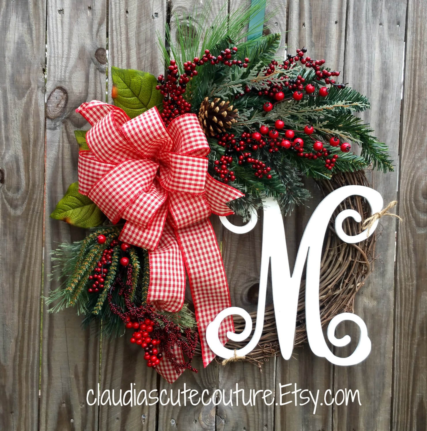 Country Christmas Gingham Grapevine Wreath