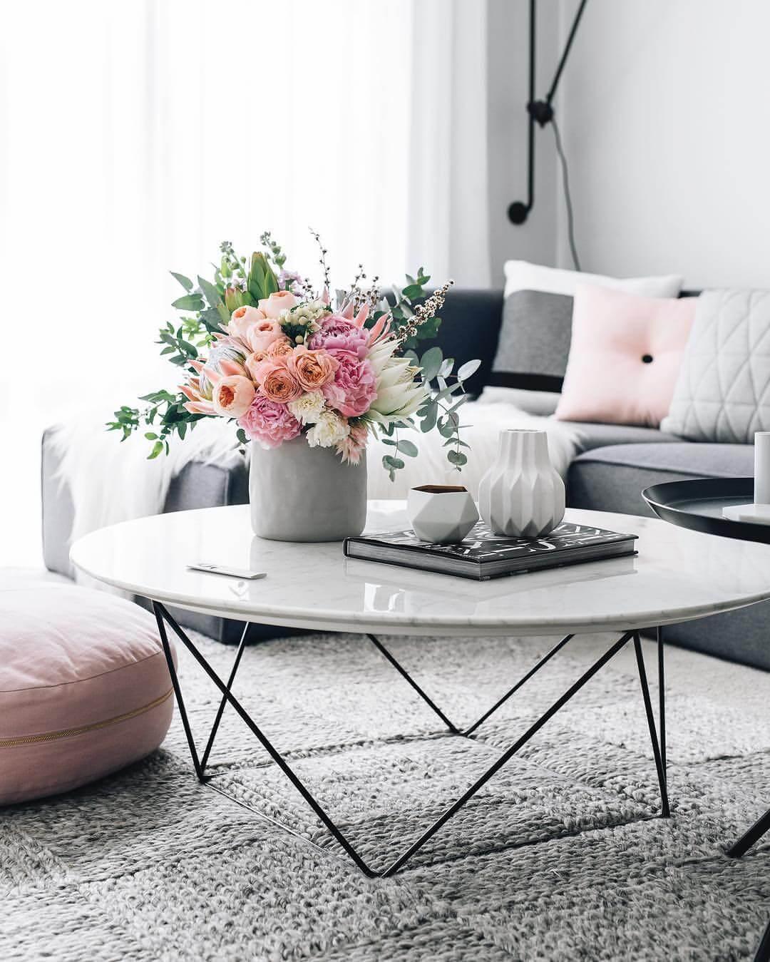 Peachy Spring Flower Arrangement with Geometric Vases