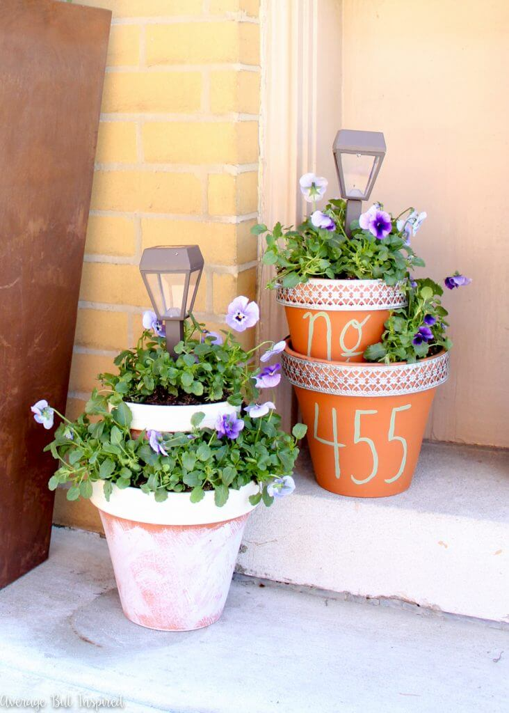Two Level Planters with House Numbers