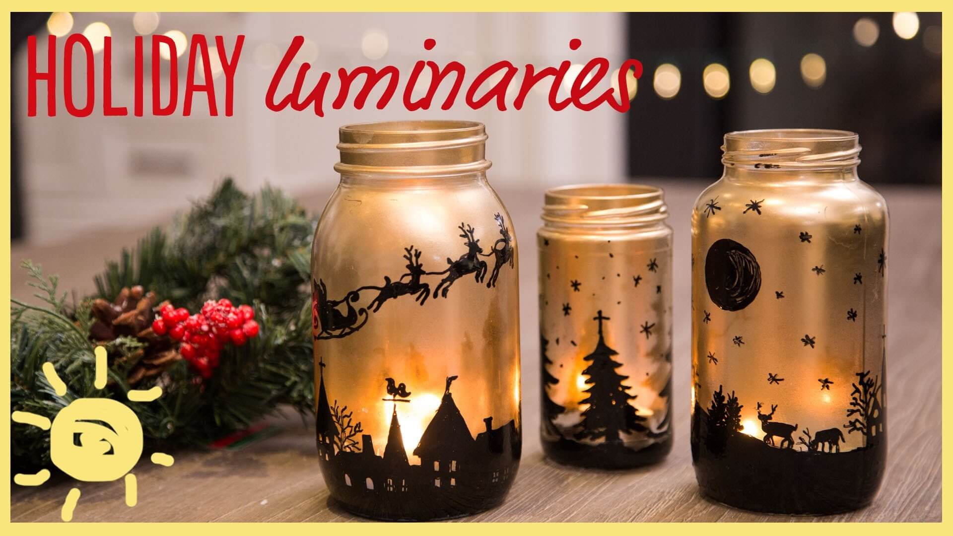 Black and Gold Canning Jar Silhouette Candles