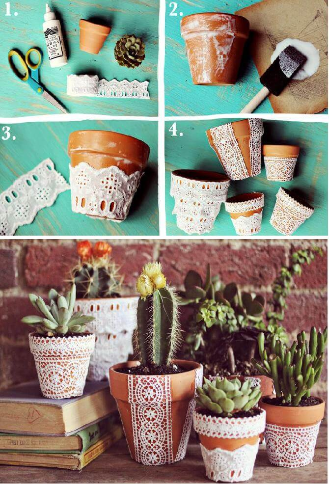 Victorian Inspired Paper Lace Planters