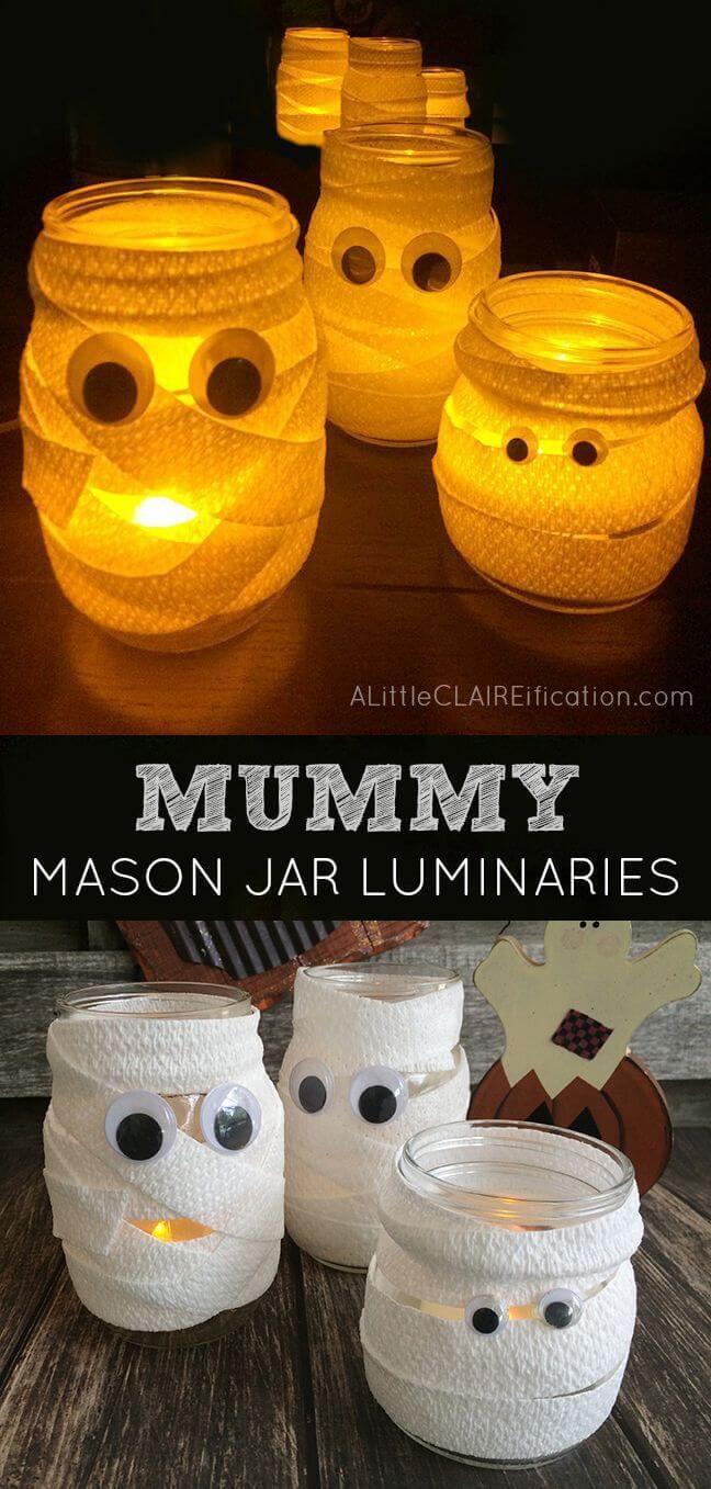Googly-Eyed Mummy Mason Jar Luminaries