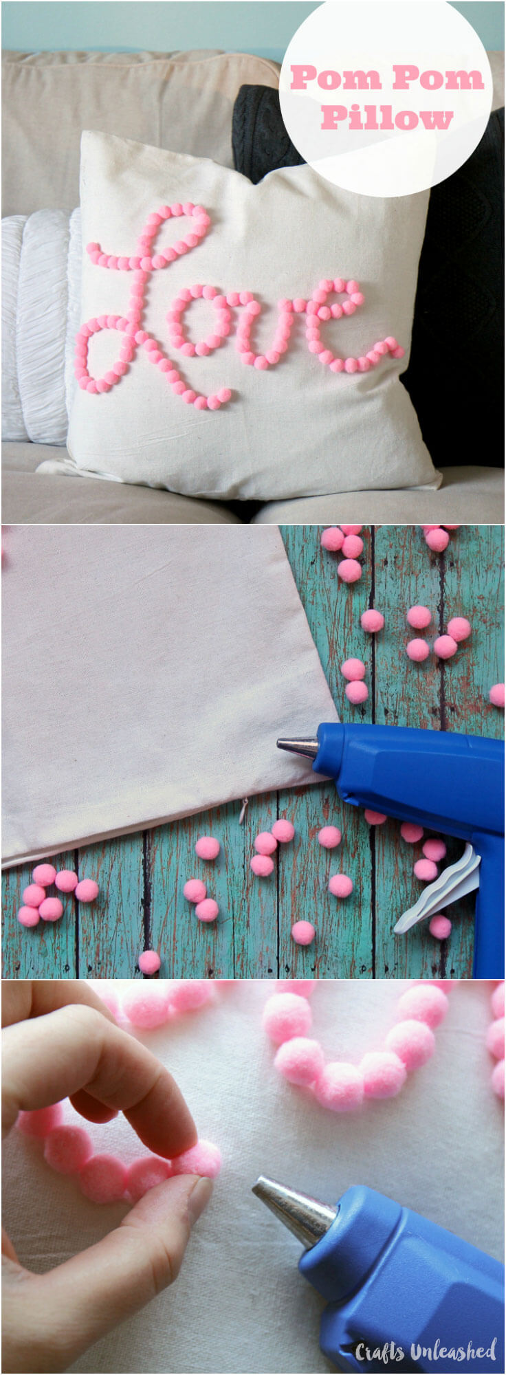 "Easy DIY ""Love"" PomPom Pillow"