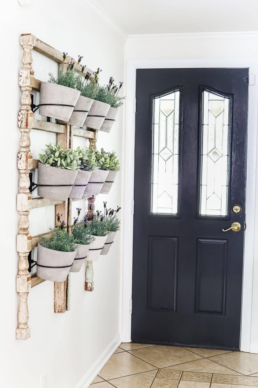 Turned Wood Racks with Plant Buckets