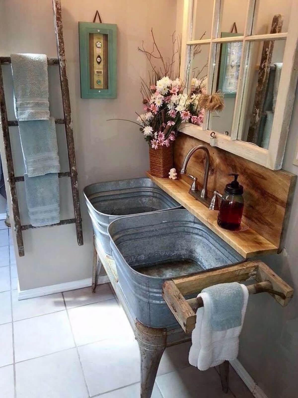 Galvanized Tubs Turned Bathroom Sinks