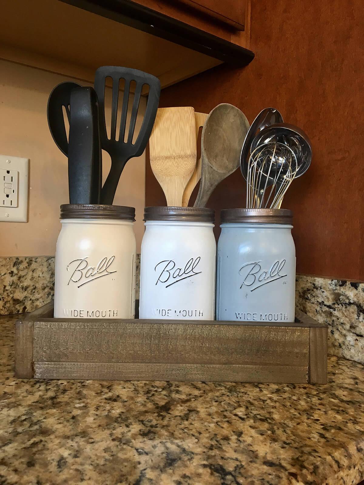 Organize Kitchen Utensils with Painted Jars