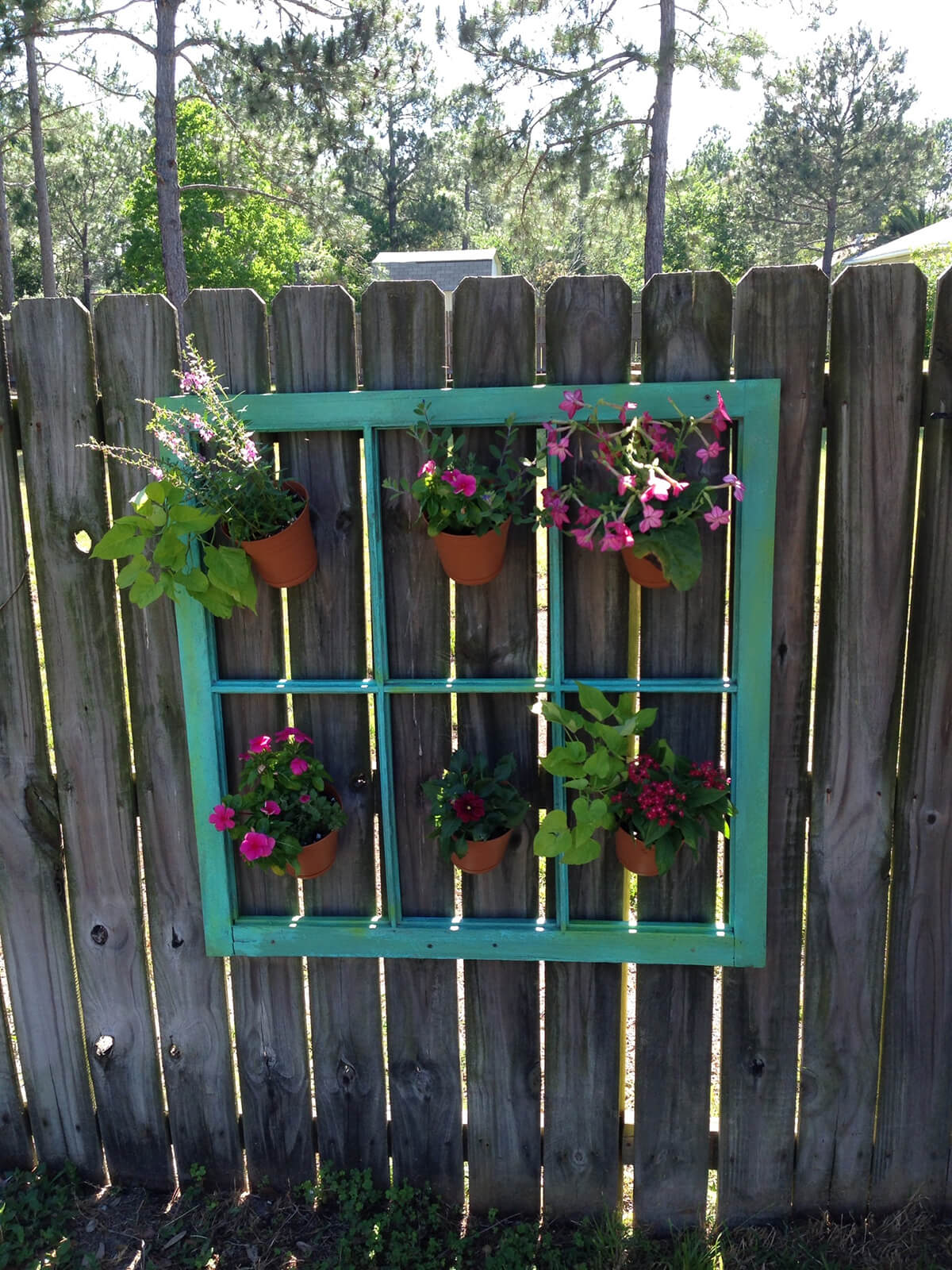 Window Frame for Hanging Plant Pots