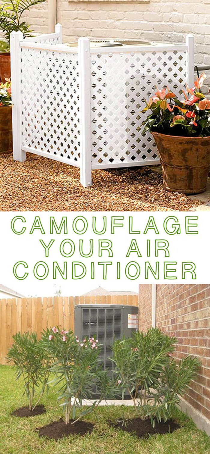 Plants or Trellis for Hiding Air Conditioning Units