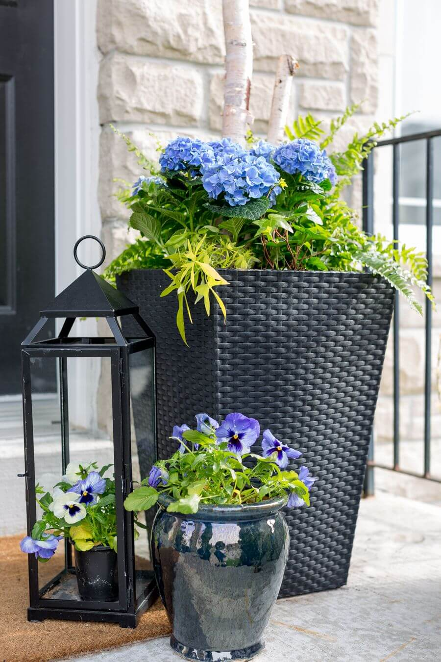 Hydrangeas in a Hamper with Pansies