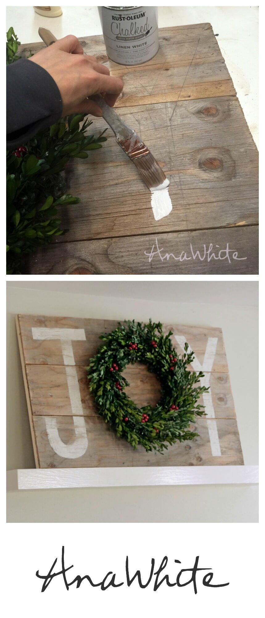 "DIY ""Joy"" Wreath Wooden Sign"