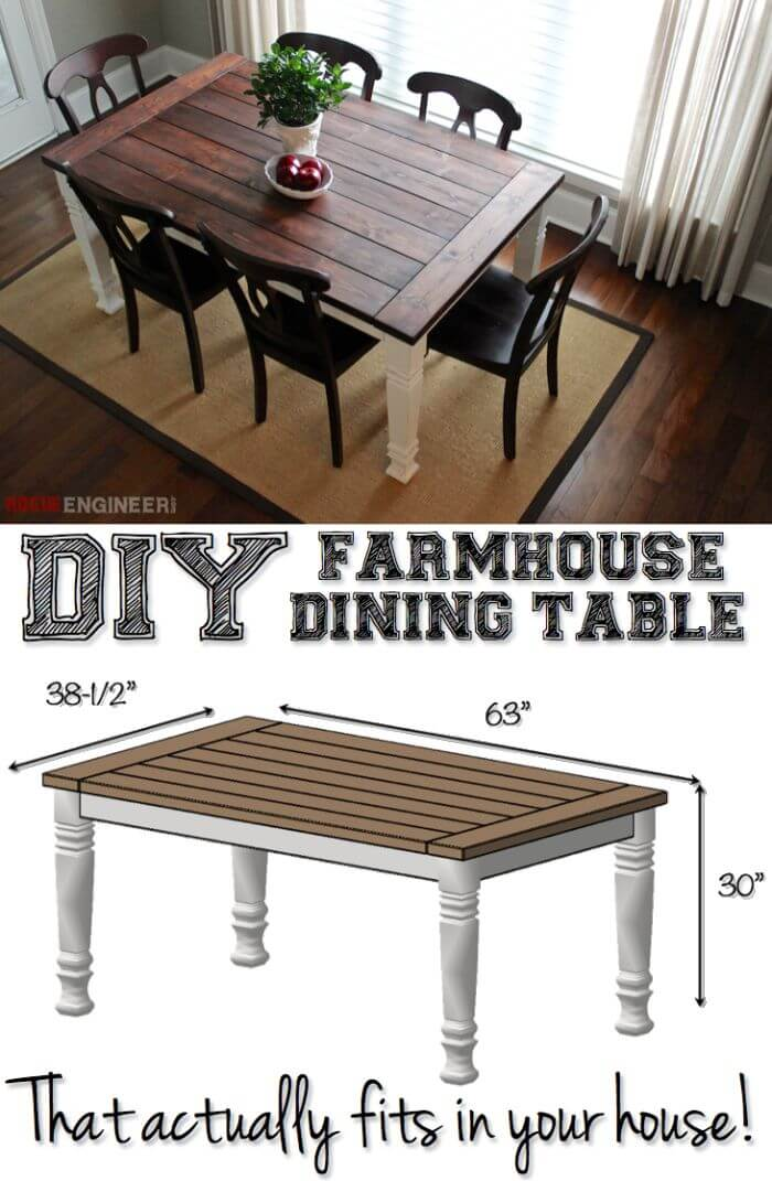 Perfectly Sized Rustic DIY Farmhouse Tables