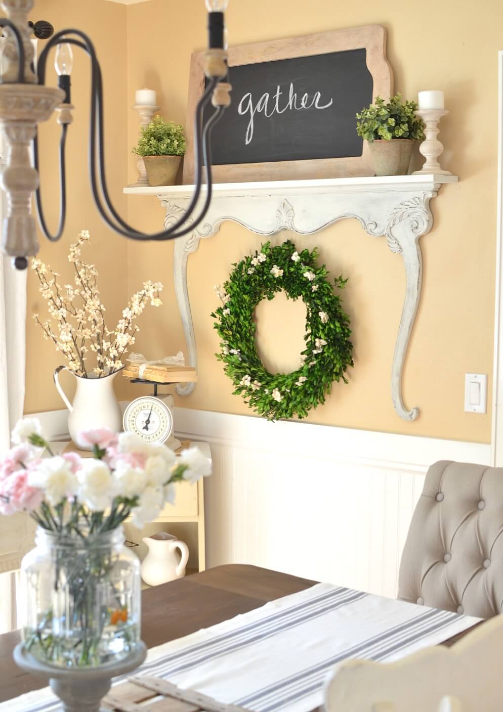 Greenery Wreath with White Flowers