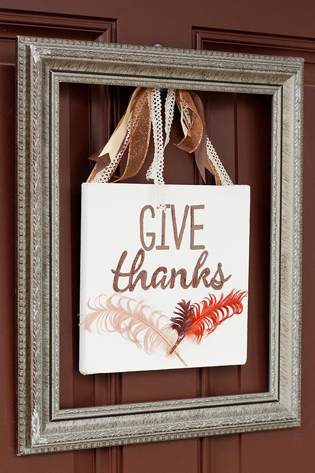 "Square Framed ""Give Thanks"" Door Sign"