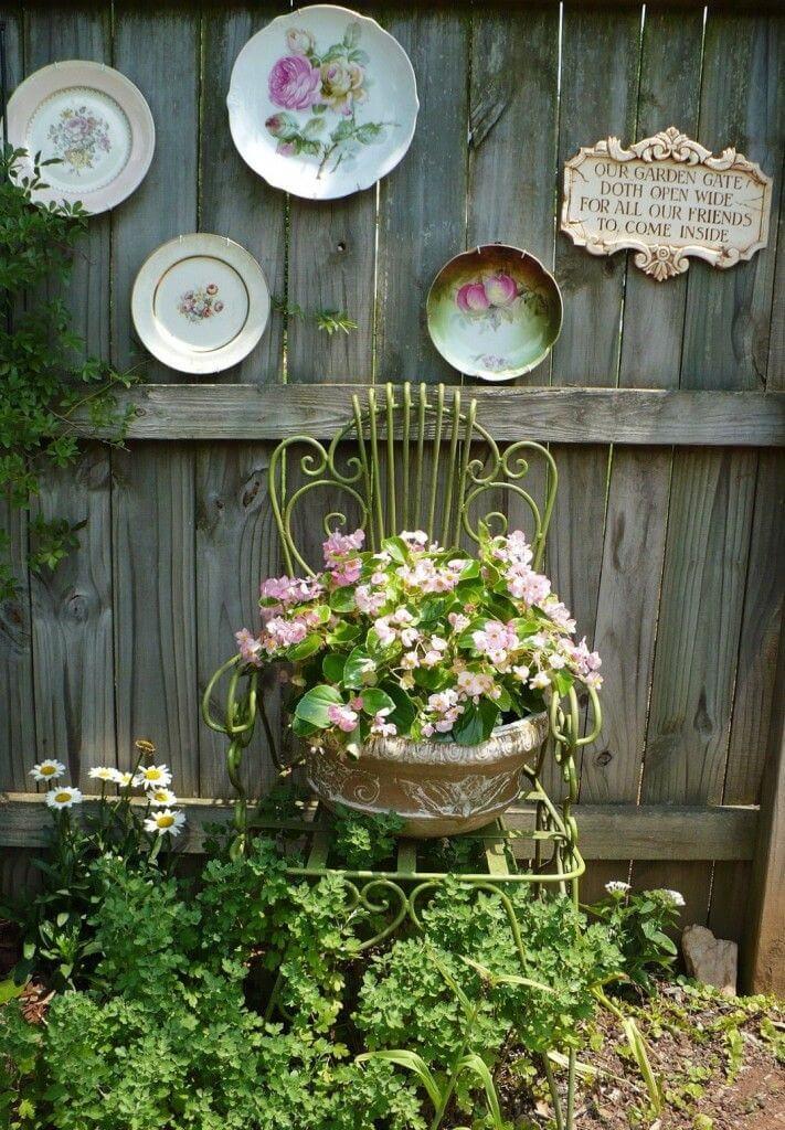 Antique Chair Planter Plus Vintage Plates
