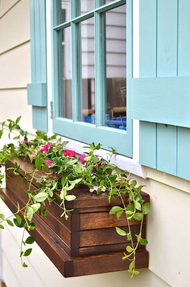 Cute Slatted Wood Window Box With Flowers
