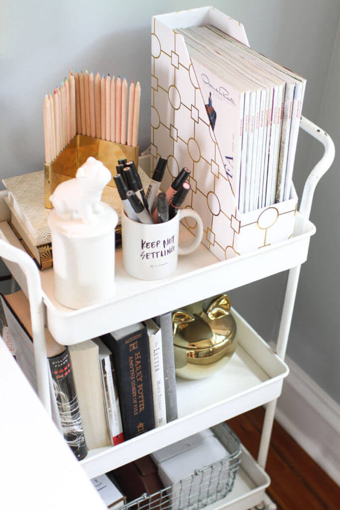 Multi-Layered Trolley With Chic Magazine Storage