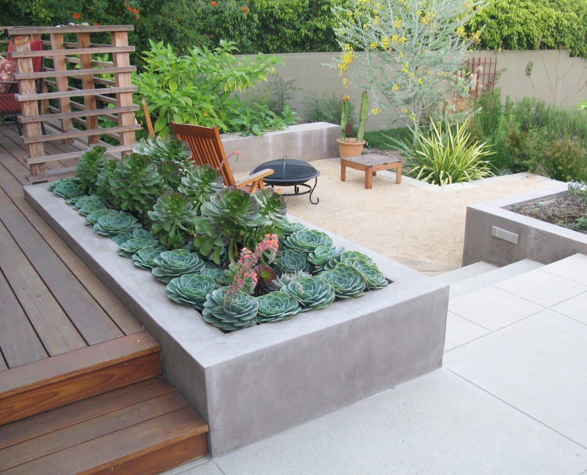 DIY Concrete Built-In Deck Planter