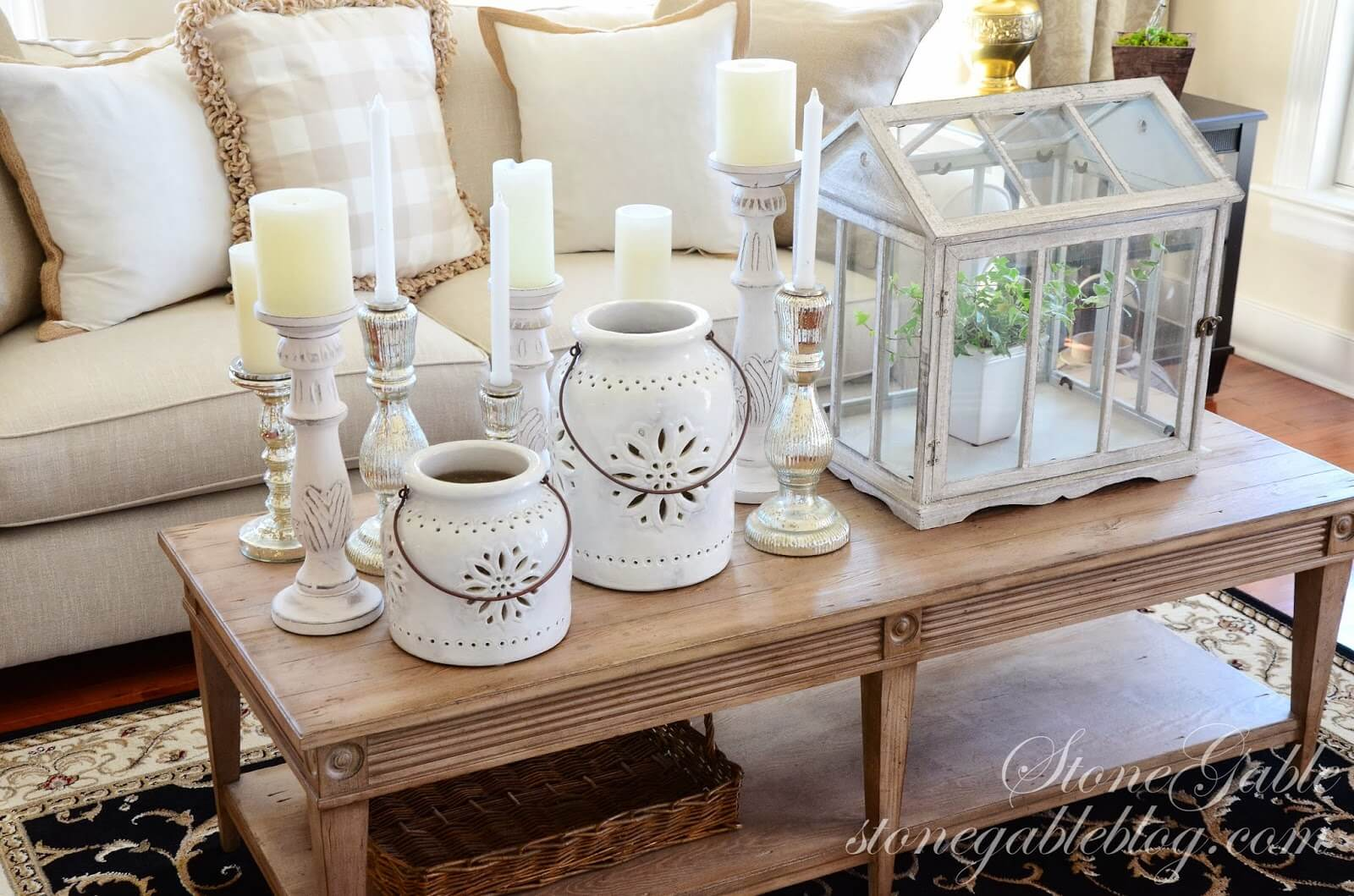 Victorian Greenhouse Terrarium and Mismatched Candle Display