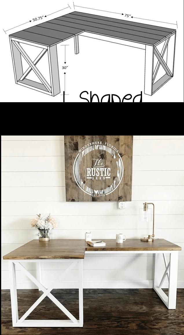 Rustic L Shaped Double X Desk