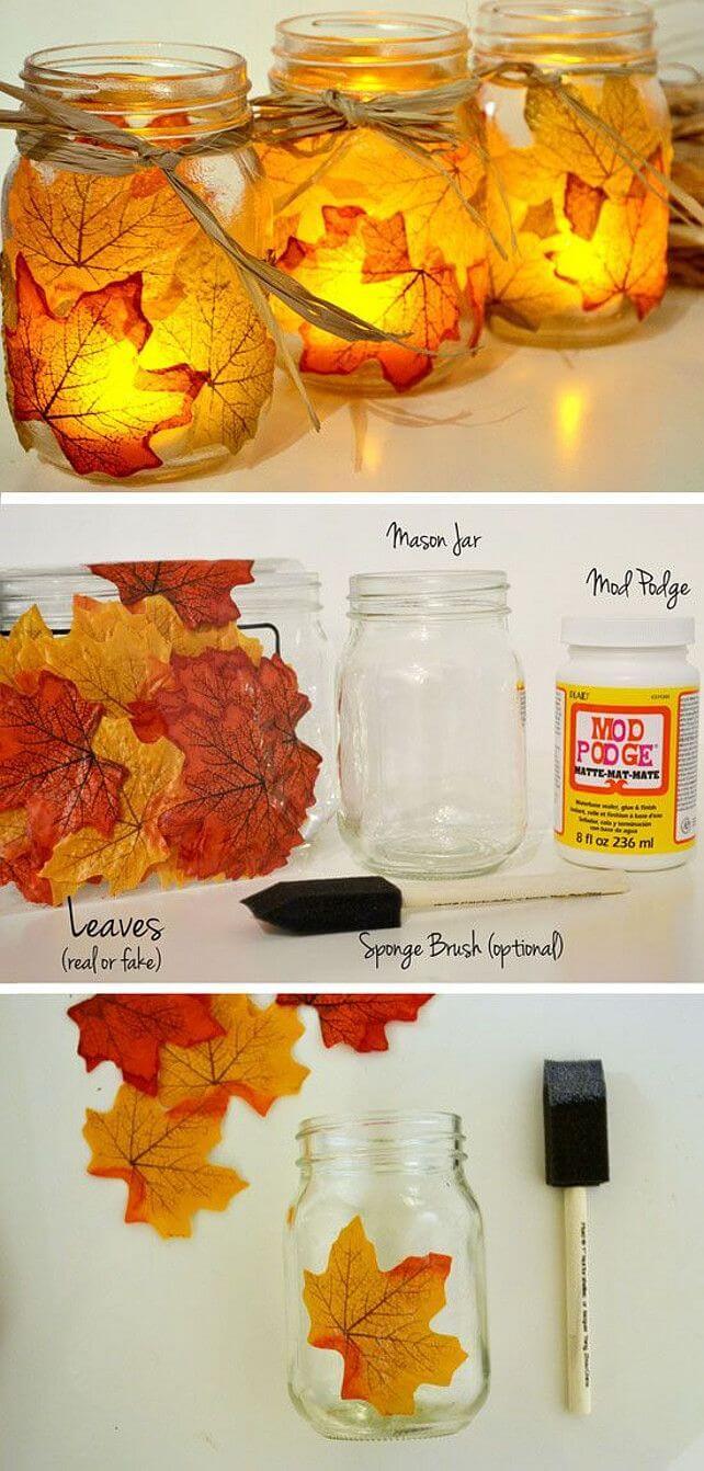 Easy but Elegant Mason Jar Leaf Lights