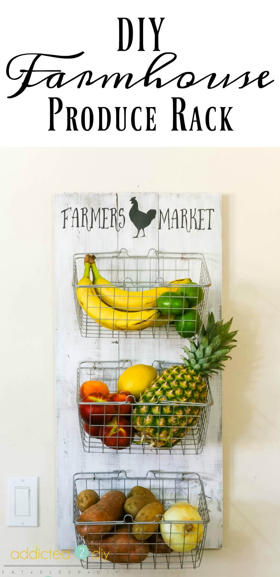 Hang Fruit and Veggie Baskets on a Cute Board