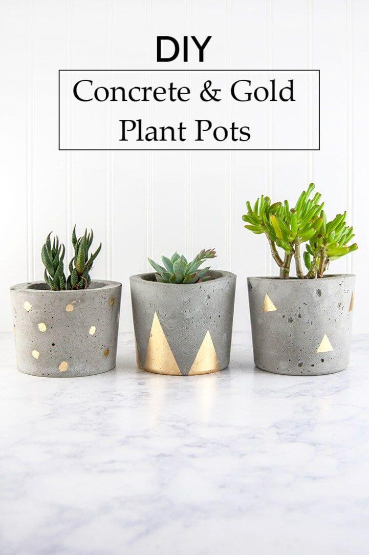 Concrete Pots with Metallic Accents