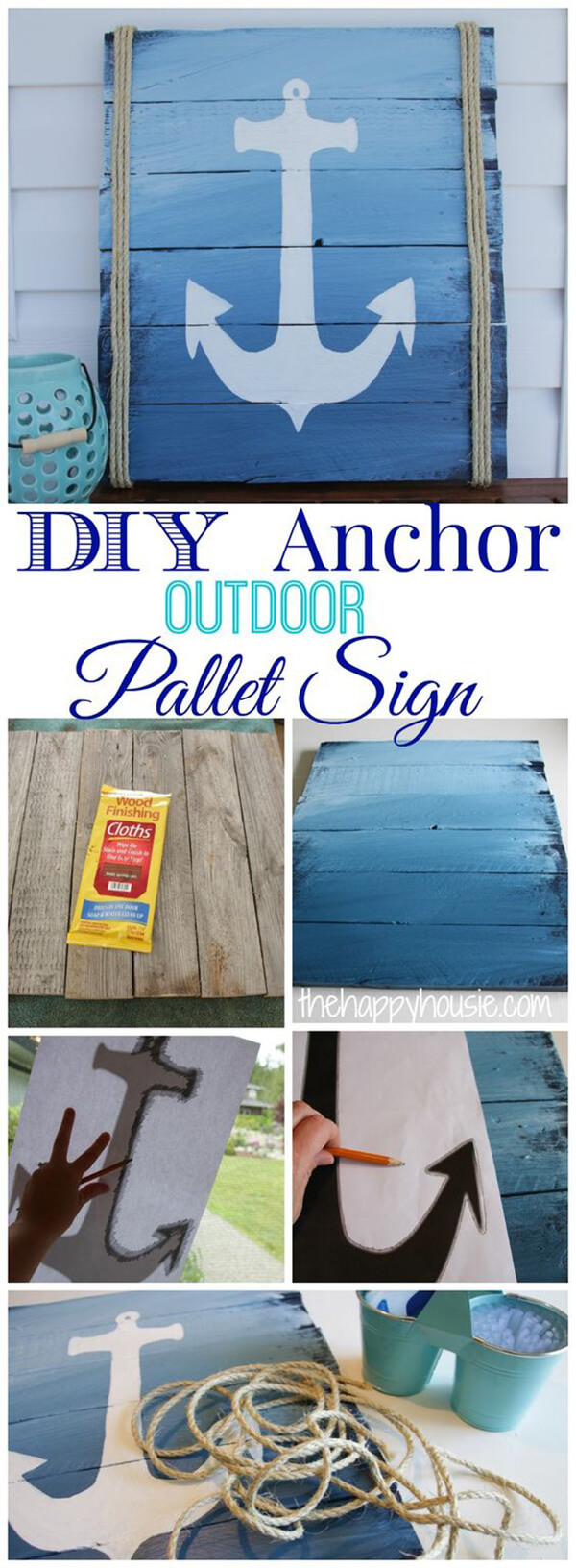 Stencil an Anchor on a Pallet Sign