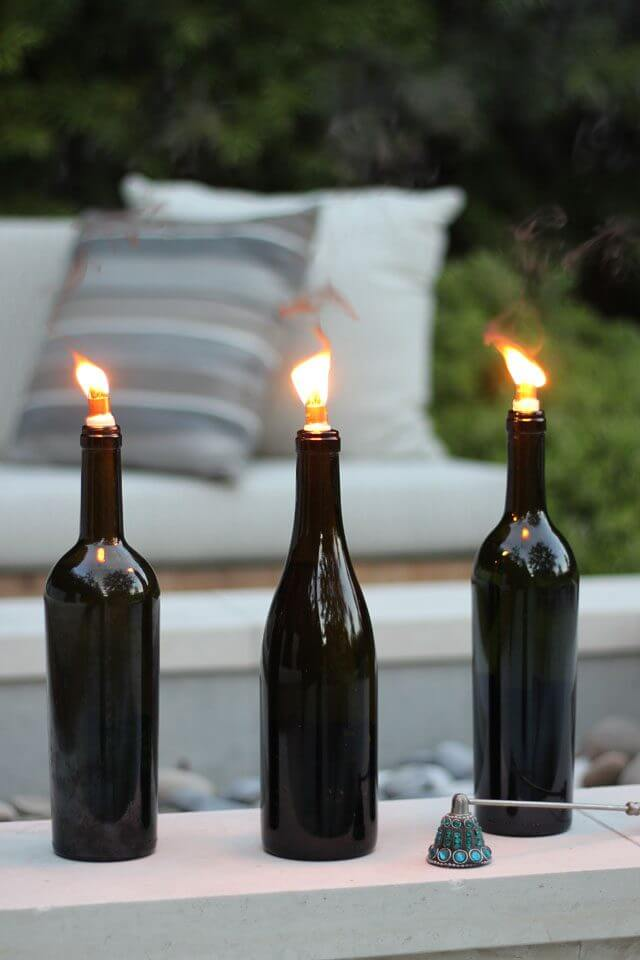 Make Wine Bottle Torch Lamps