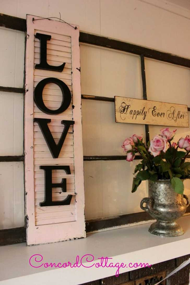 "Pink ""LOVE"" Hanging Shutter"