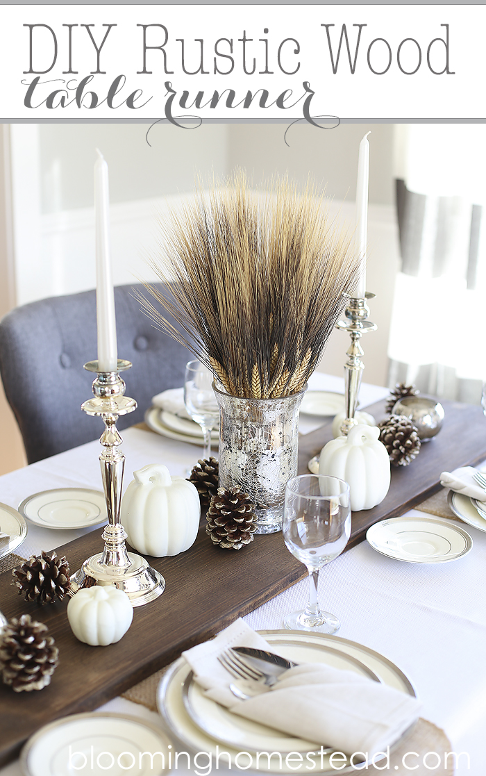 Monochromatic DIY Thanksgiving Centerpiece with Gourds, Wheat, and Pinecones