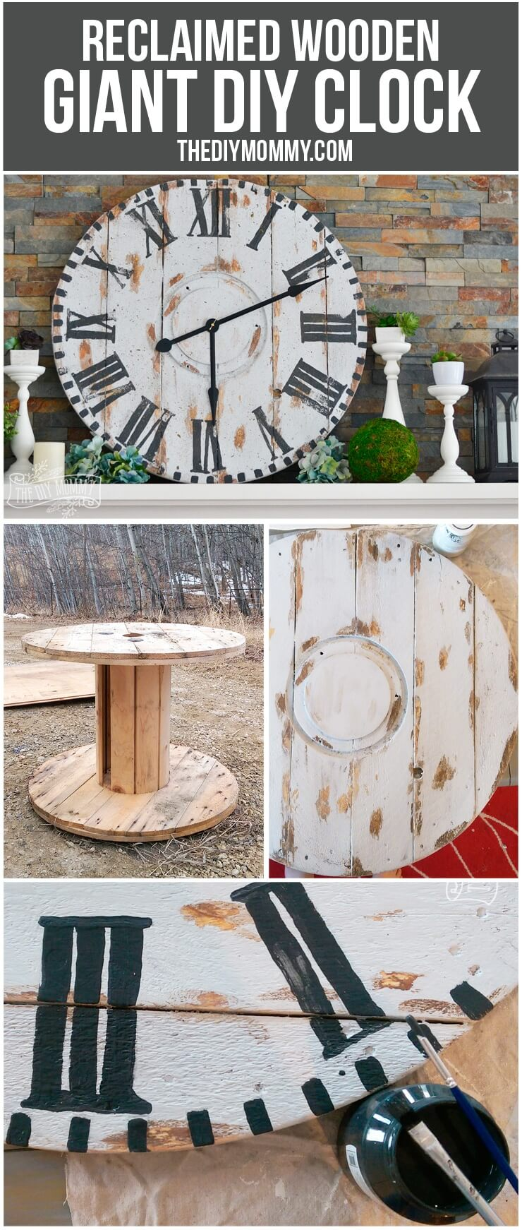 Industrial Spindle Top Wall Clock