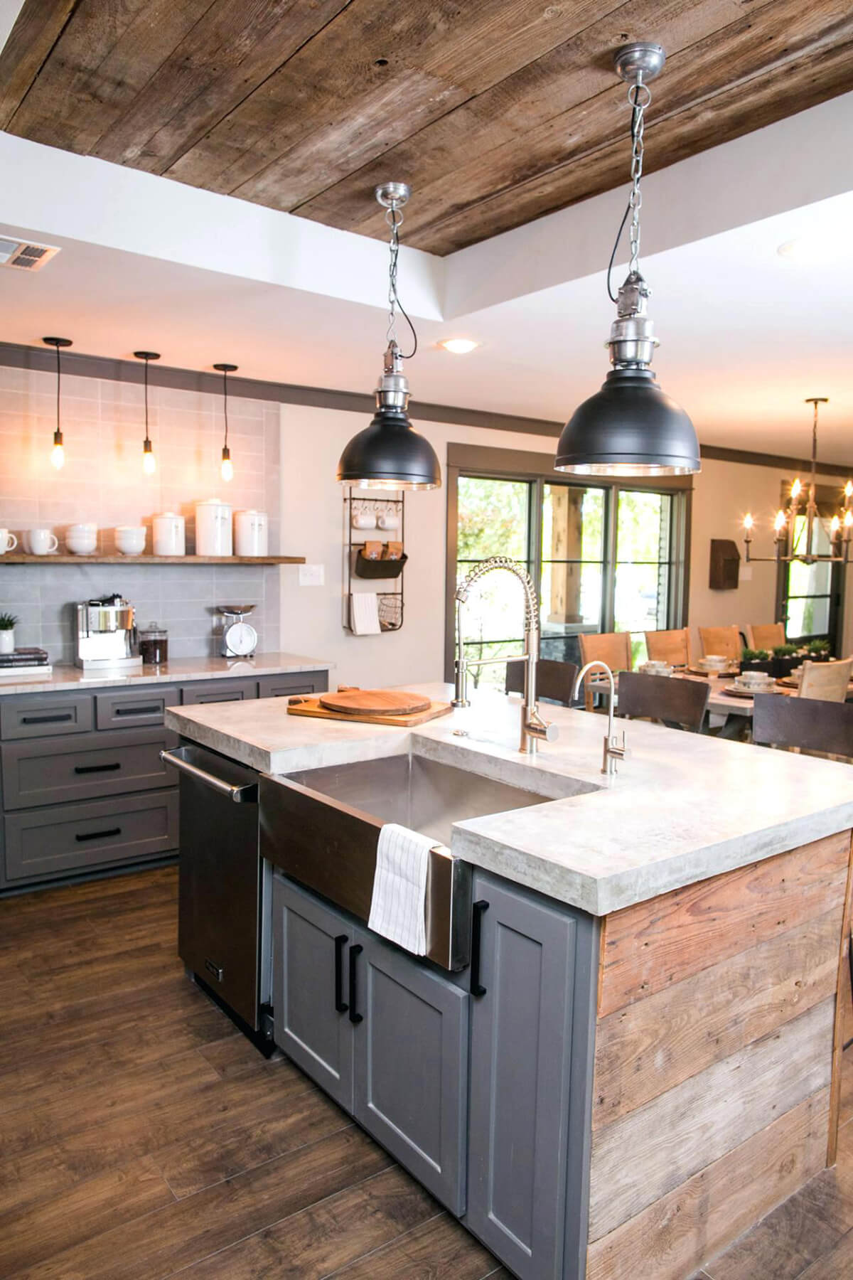 Grayscale Shiplap Cabinets with Rustic Vibes