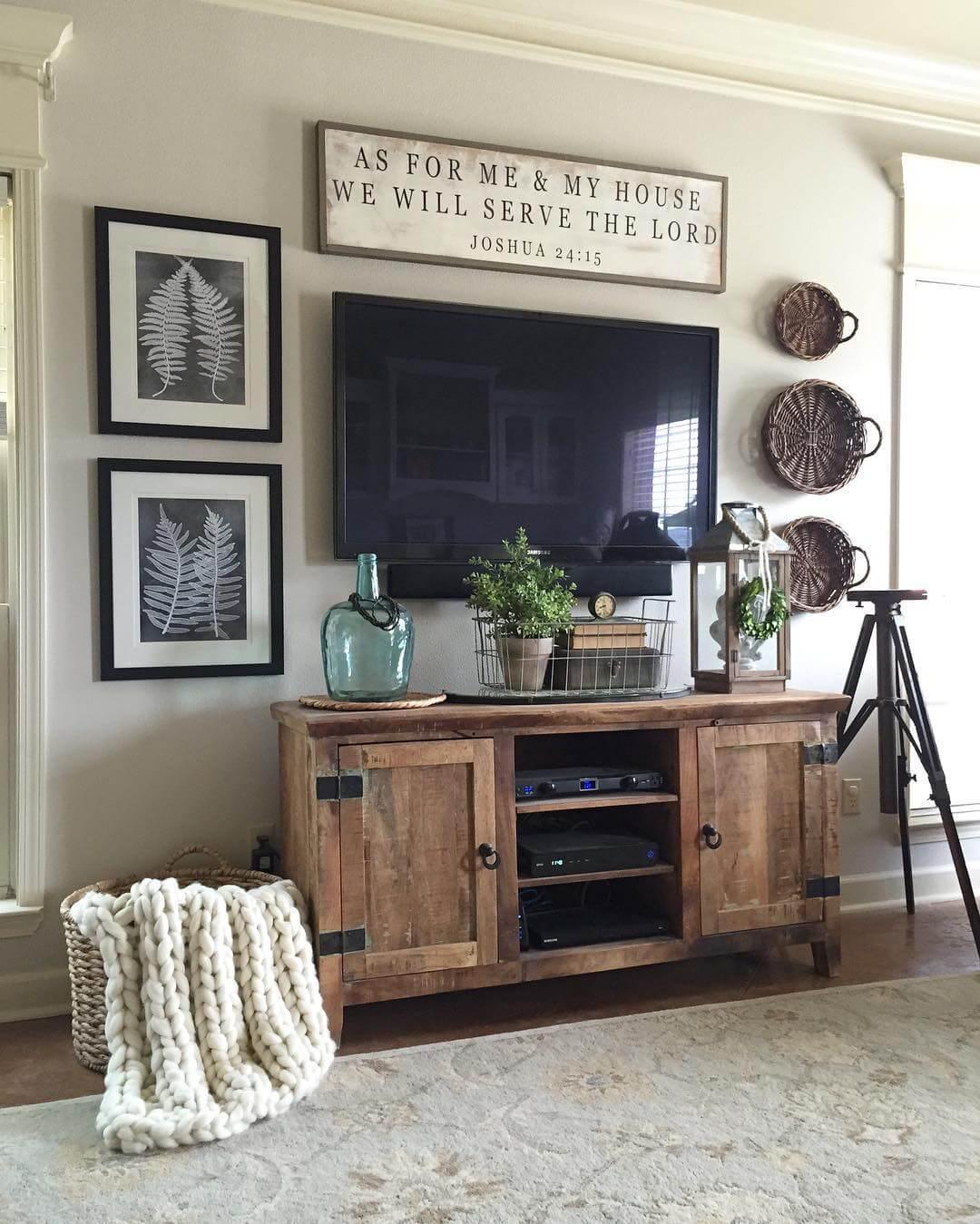 Rugged Barnwood Television Console Cabinet