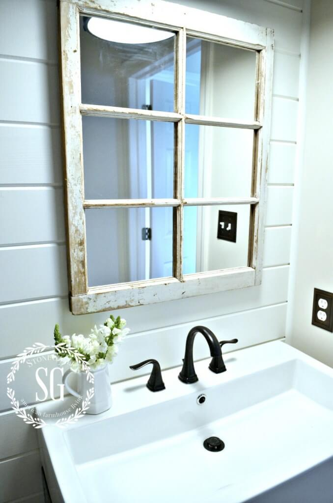 Exterior Window Mirror in the Bathroom