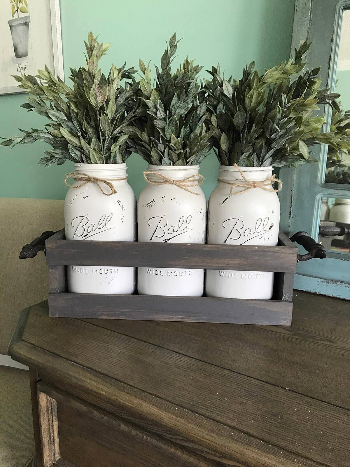 Painted White Mason Jars with Greenery