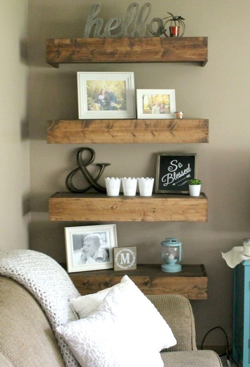 Chunky Wood Shelves with Sign and Photos