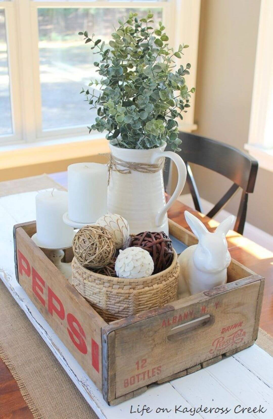 Antique Soda Crate with Vase and Decorations