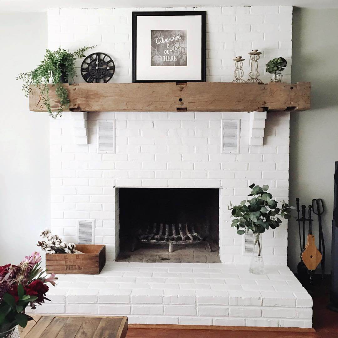 Recycled Timber Mantle and White Brick
