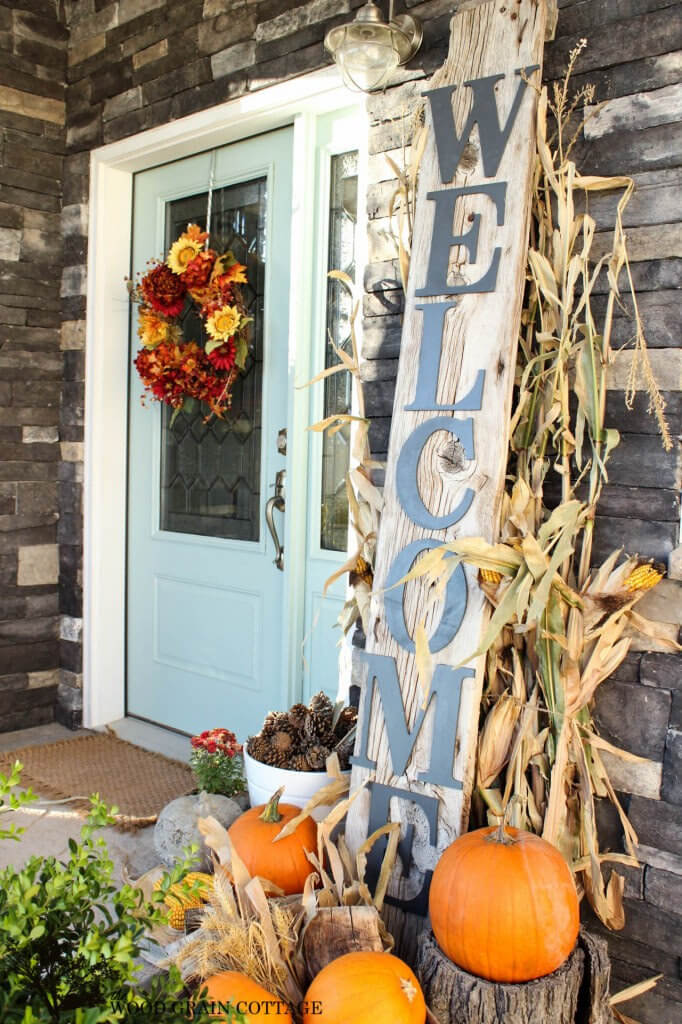 Rustic Welcome Sign with Fall Wreath