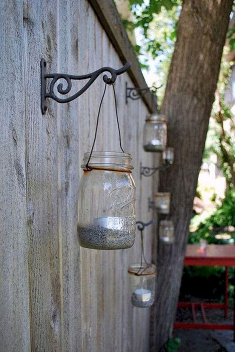Mason Jar Tea Light Holders on Metal Hooks