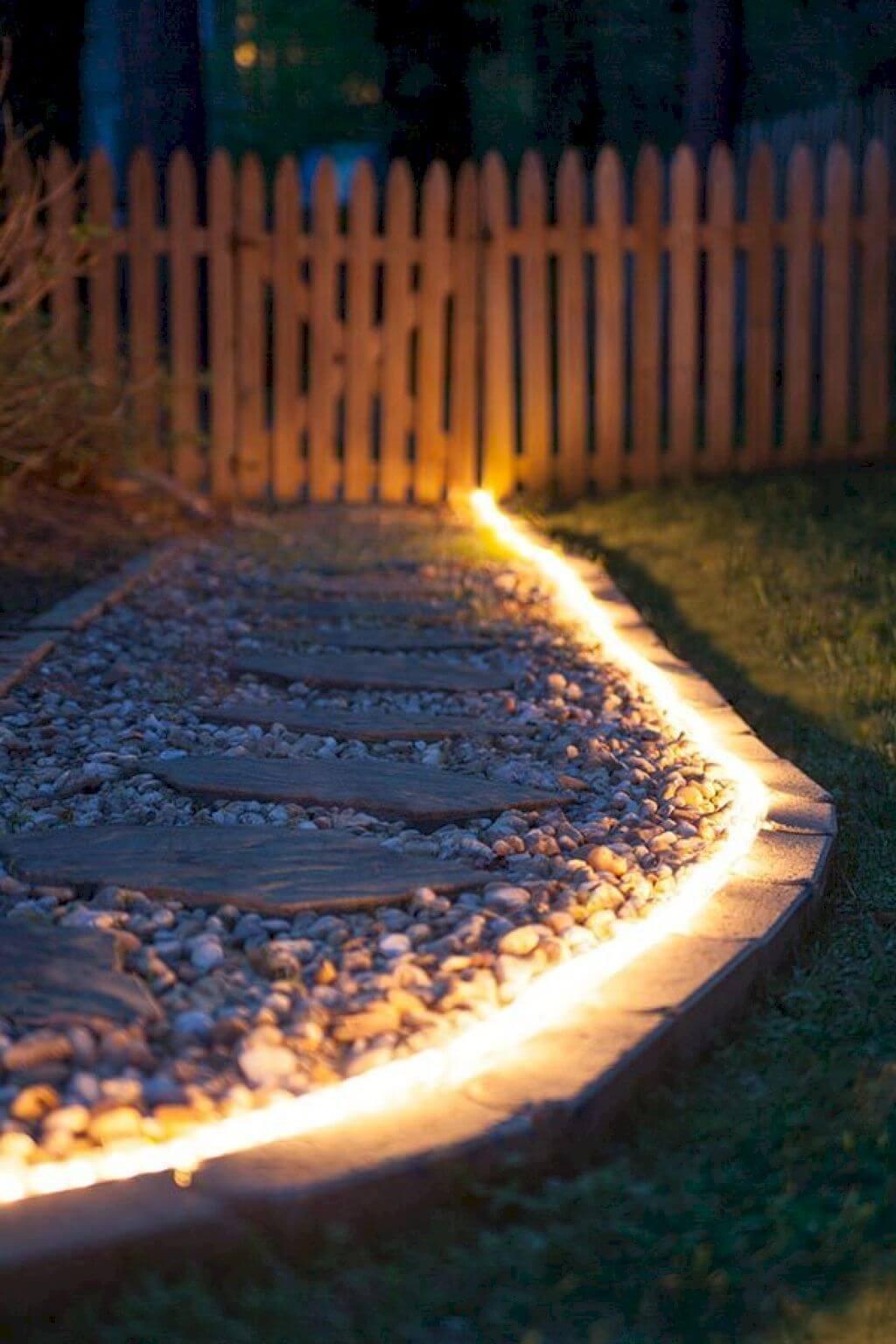 Bright Lights Shining from Brick Edging