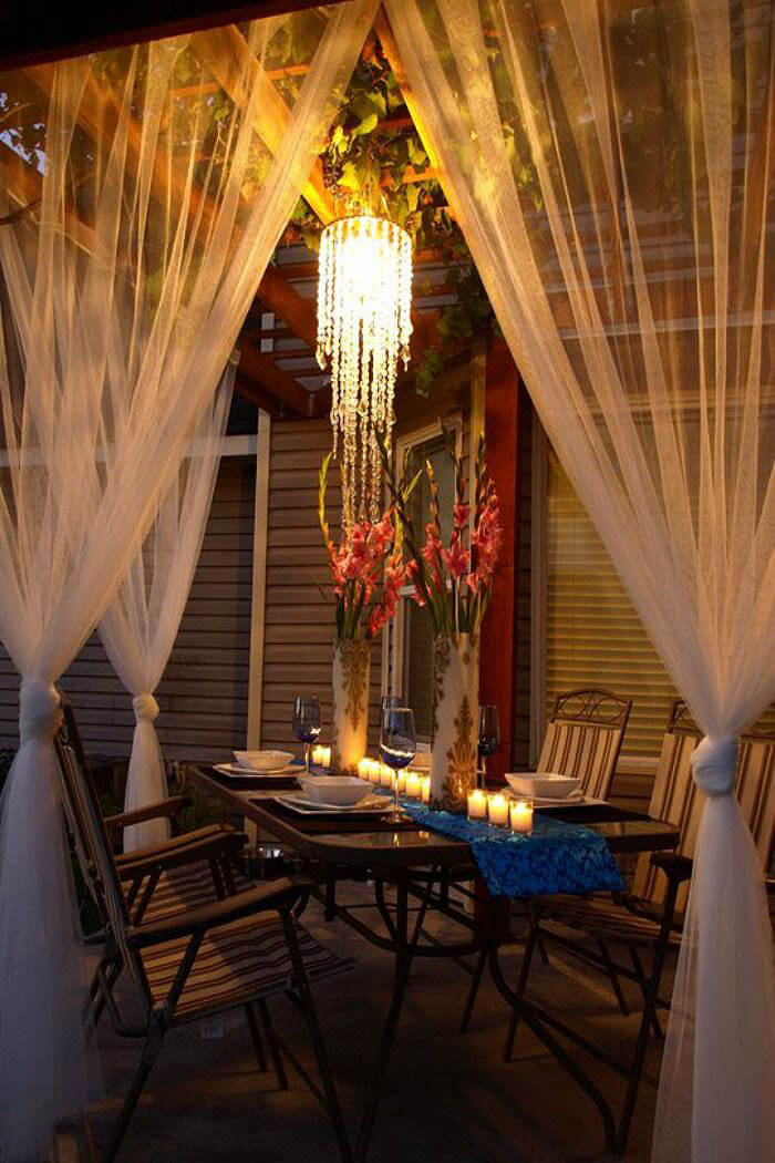 Shimmery Fabric Catches Romantic Lighting