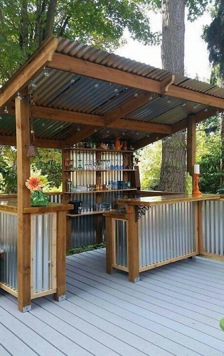 DIY Corrugated Metal Outdoor Bar
