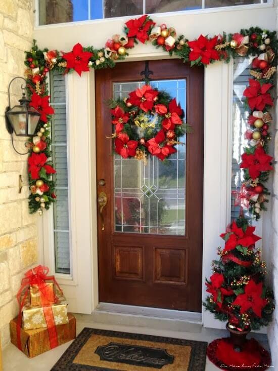 Striking Asymmetrical Poinsettia Door Garland