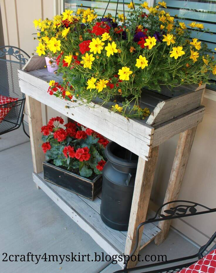 Rustic Wooden Shelves With Potted Flowers