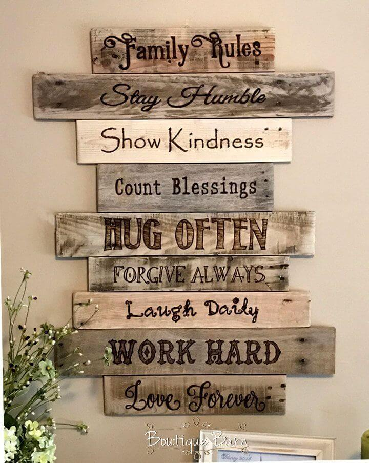 Staggered Distressed Plank Pyrography Art