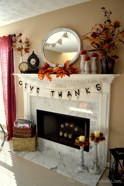 Mantel Banner with Crimson Fall Foliage