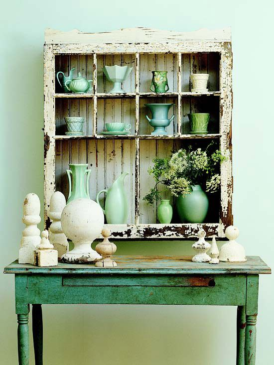 Shabby Chic Window Frame Shelving
