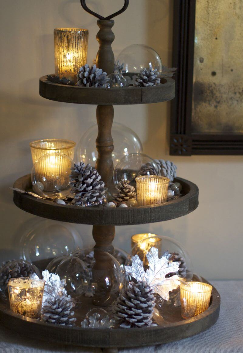 Mismatched Christmas Cake Stand Décor with Silvered Pine Cones